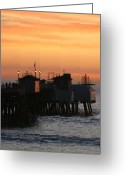 San Clemente Pier Greeting Cards - San Clemente Pier Sunset Greeting Card by Brad Scott