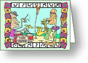 San Clemente Ocean Festival Drawings Greeting Cards - San Clemente Tiki Timers Ocean Festival Greeting Card by Aaron Bodtcher