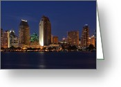 City Lights Greeting Cards - San Diego Americas Finest City Greeting Card by Larry Marshall