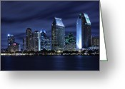 City Lights Greeting Cards - San Diego Skyline at Night Greeting Card by Larry Marshall