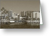 Sepia Toned Greeting Cards - San Diego Skyline In Sepia Greeting Card by Ben and Raisa Gertsberg