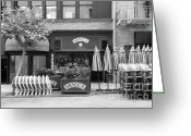 Maiden Greeting Cards - San Francisco - Maiden Lane - Mocca Cafe - 5D17788 - black and white Greeting Card by Wingsdomain Art and Photography