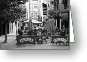 Maiden Greeting Cards - San Francisco - Maiden Lane - Outdoor Lunch at Mocca Cafe - 5D17932 - black and white Greeting Card by Wingsdomain Art and Photography