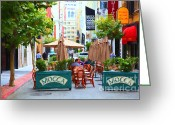 Maiden Greeting Cards - San Francisco - Maiden Lane - Outdoor Lunch at Mocca Cafe - 5D17932 - Painterly Greeting Card by Wingsdomain Art and Photography