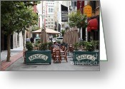 Umbrellas Greeting Cards - San Francisco - Maiden Lane - Outdoor Lunch at Mocca Cafe - 5D17932 Greeting Card by Wingsdomain Art and Photography