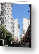Maiden Greeting Cards - San Francisco - Maiden Lane - Outdoor Lunch at Mocca Cafe - 5D18011 Greeting Card by Wingsdomain Art and Photography
