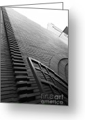 Maiden Greeting Cards - San Francisco - Maiden Lane - Xanadu Gallery - Frank Lloyd Architecture - 5D17795 - black and white Greeting Card by Wingsdomain Art and Photography