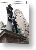 Tall Building Greeting Cards - San Francisco - Monument on Market Street - 5D17845 Greeting Card by Wingsdomain Art and Photography