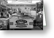 Street Vendor Greeting Cards - San Francisco - Stanleys Steamers Hot Dog Stand - 5D17929 - black and white Greeting Card by Wingsdomain Art and Photography