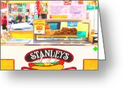 Street Vendor Greeting Cards - San Francisco - Stanleys Steamers Hot Dog Stand - 5D17929 - Square - Painterly Greeting Card by Wingsdomain Art and Photography