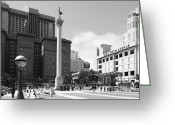 Maiden Greeting Cards - San Francisco - Union Square - 5D17933 - black and white Greeting Card by Wingsdomain Art and Photography