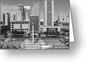 Maiden Greeting Cards - San Francisco - Union Square - 5D17938 - black and white Greeting Card by Wingsdomain Art and Photography