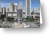 Fifth Greeting Cards - San Francisco - Union Square - 5D17938 Greeting Card by Wingsdomain Art and Photography