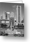 Maiden Greeting Cards - San Francisco - Union Square - 5D17941 - black and white Greeting Card by Wingsdomain Art and Photography
