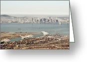 Port Of San Francisco Greeting Cards - San Francisco Bay and Downtown Greeting Card by Eddy Joaquim