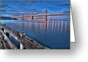 West Coast Photo Greeting Cards - San Francisco Bay Bridge at dusk Greeting Card by Scott Norris