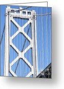 Oakland Bay Bridge Greeting Cards - San Francisco Bay Bridge at The Embarcadero . 7D7760 Greeting Card by Wingsdomain Art and Photography