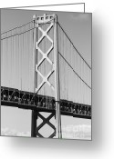 Oakland Bay Bridge Greeting Cards - San Francisco Bay Bridge at The Embarcadero . Black and White Photograph . 7D7717 Greeting Card by Wingsdomain Art and Photography