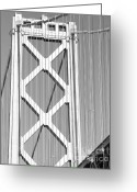 Black-and-white Photographs Greeting Cards - San Francisco Bay Bridge at The Embarcadero . Black and White Photograph . 7D7760 Greeting Card by Wingsdomain Art and Photography