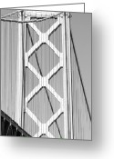 Oakland Bay Bridge Greeting Cards - San Francisco Bay Bridge at The Embarcadero . Black and White Photograph . 7D7762 Greeting Card by Wingsdomain Art and Photography