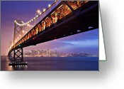 Illuminated Greeting Cards - San Francisco Bay Bridge Greeting Card by Photo by Mike Shaw