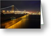 Road Trip Greeting Cards - San Francisco Bay bridge Greeting Card by Pierre Leclerc