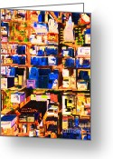 Birdseye Greeting Cards - San Francisco Birdseye Abstract . Painterly Greeting Card by Wingsdomain Art and Photography