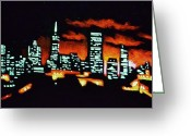 Skylines Painting Greeting Cards - San Francisco Black Light Greeting Card by Thomas Kolendra