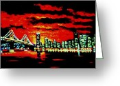 Skylines Painting Greeting Cards - San Francisco by black light Greeting Card by Thomas Kolendra