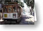 Cable Cars Photo Greeting Cards - San Francisco Cable Car at The Powell Street Cable Car Turnaround - 5D17962 Greeting Card by Wingsdomain Art and Photography