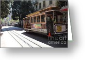 Cable Cars Photo Greeting Cards - San Francisco Cable Car at The Powell Street Cable Car Turnaround - 5D17963 Greeting Card by Wingsdomain Art and Photography