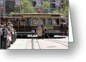 Cable Cars Photo Greeting Cards - San Francisco Cable Car at The Powell Street Cable Car Turnaround - 5D17968 Greeting Card by Wingsdomain Art and Photography