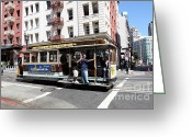 Cable Cars Photo Greeting Cards - San Francisco Cable Car on Powell Street - 5D17957 Greeting Card by Wingsdomain Art and Photography