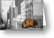 Mixed Media Photo Greeting Cards - San Francisco Cable Car Greeting Card by Peter Art Prints Posters Gallery