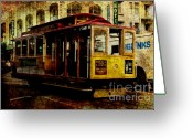 Bay Area Greeting Cards - San Francisco Cable Car . texture Greeting Card by Wingsdomain Art and Photography