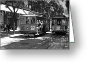 Cable Cars Photo Greeting Cards - San Francisco Cable Cars at The Powell Street Cable Car Turnaround - 5D17959 - black and white Greeting Card by Wingsdomain Art and Photography