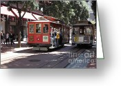 Cable Cars Photo Greeting Cards - San Francisco Cable Cars at The Powell Street Cable Car Turnaround - 5D17959 Greeting Card by Wingsdomain Art and Photography