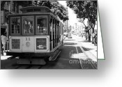 Cable Cars Photo Greeting Cards - San Francisco Cable Cars at The Powell Street Cable Car Turnaround - 5D17962 - black and white Greeting Card by Wingsdomain Art and Photography