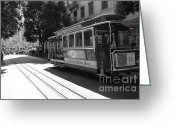 Cable Cars Photo Greeting Cards - San Francisco Cable Cars at The Powell Street Cable Car Turnaround - 5D17963 - black and white Greeting Card by Wingsdomain Art and Photography