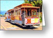 Streets Digital Art Greeting Cards - San Francisco Cablecar At Fishermans Wharf . 7D14097 Greeting Card by Wingsdomain Art and Photography