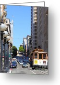 Cable Cars Photo Greeting Cards - San Francisco Cablecar on Powell Street Greeting Card by Wingsdomain Art and Photography