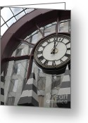 Clock Greeting Cards - San Francisco Crocker Galleria - 5D17908 Greeting Card by Wingsdomain Art and Photography
