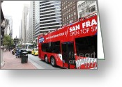 Cable Cars Photo Greeting Cards - San Francisco Double Decker Tour Bus on Market Street - 5D17844 Greeting Card by Wingsdomain Art and Photography