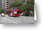 Cable Cars Photo Greeting Cards - San Francisco Double Decker Tour Bus on Market Street - 5D17851 Greeting Card by Wingsdomain Art and Photography