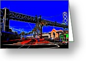 Oakland Bay Bridge Greeting Cards - San Francisco Embarcadero And The Bay Bridge Electrified Greeting Card by Wingsdomain Art and Photography