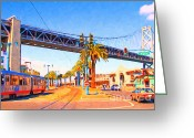 Baybridge Greeting Cards - San Francisco Embarcadero And The Bay Bridge Greeting Card by Wingsdomain Art and Photography