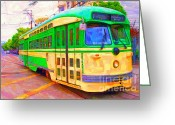 Trolley Greeting Cards - San Francisco F-Line Trolley Greeting Card by Wingsdomain Art and Photography