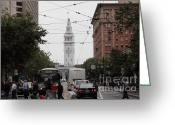 Traffic Greeting Cards - San Francisco Ferry Building at End of Market Street - 5D17865 Greeting Card by Wingsdomain Art and Photography