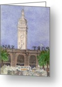 Port Of San Francisco Greeting Cards - San Francisco Ferry Building Greeting Card by Jerry  Grissom