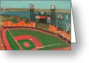 Att Baseball Park Greeting Cards - San Francisco Giants Stadium Greeting Card by Kyle McGuigan